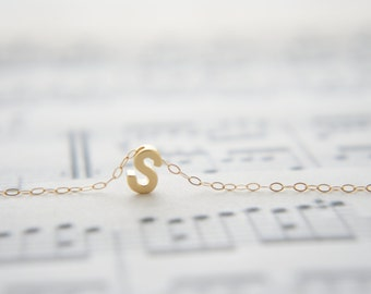"Gold Letter, Alphabet, Initial  capital ""S"" necklace, birthday gift, lucky charm, layered necklace, trendy"