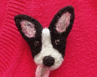 Cute little dog brooch - needle felted animal pin badge - unique birthday gifts for her - made in Britain