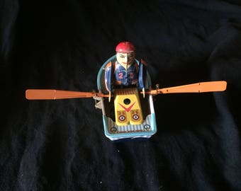 Vintage Tin Toy, Wind Up Toy, Man in a Rowing Boat - 1970