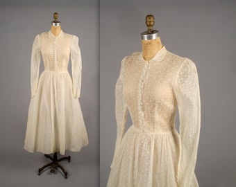 1940s stunning eyelet lace wedding dress • vintage 40s sheer prom dress • tea length cupcake dress