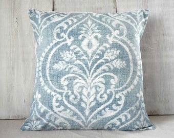 Soft Blue Damask Throw Pillow Cover, Cottage Chic Style, French Country Decor, 18x18, 20x20, 22x22, 24x24
