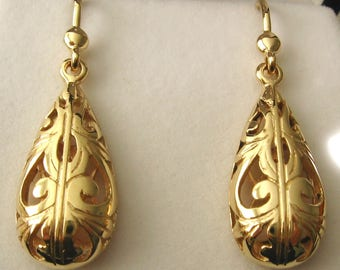 Genuine SOLID 9ct YELLOW GOLD Filigree Drop Dangle Earrings