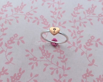 stacked sterling silver ring, with copper heart and heart semicolon, hand stamped, hand made, custom, made to order, made to fit