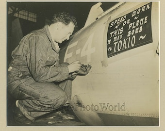WWII airplane factory worker antique photo