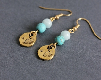 Turquoise and Opal Earrings Gold Tone Earrings Gold Blue Earrings Blue Gemstone Earrings Natural Stone Earring Small Dangle Earrings for Mom