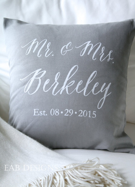 Personalized Wedding Pillow Cover Mr And Mrs Pillow Cover