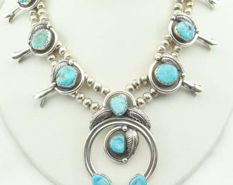 Stunning Vintage Fred Peters Hallmarked Navajo Artisan Sterling Silver & Turquoise Squash Blossom Necklace FREE SHIPPING! #PETERS1-SQB1