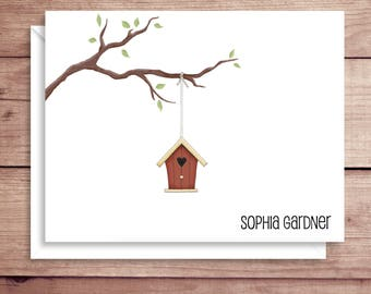 Bird House Note Cards - Folded Note Cards - Personalized Children's Stationery - Thank You Notes - Illustrated Note Cards