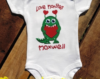 Love Monster with Name Valentine Shirt or Bodysuit
