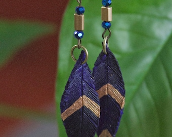 Purple and Gold Leather Feather Earrings
