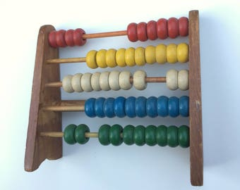 Vintage wooden abacus counting toy