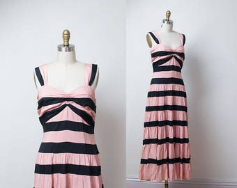 1940s Striped Dress / 40s Pink & Black Gown