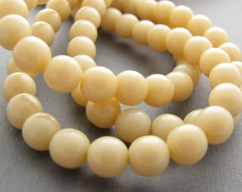 Opaque Lt Beige 4mm Smooth Round Czech Glass Beads 100pc #485