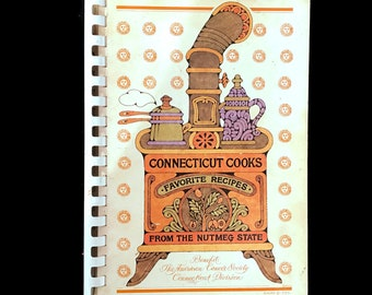 Vintage Local Cookbook, Connecticut Cooks Favorite Recipes from the Nutmeg State, Recipes, Regional Cooking, 1980s Spiral Bound Cook Book