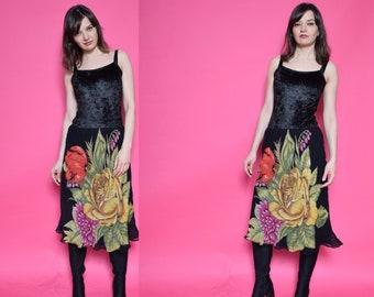 Vintage 90's Floral Black Skirt / Flowers Print Midi Skirt - Size Small