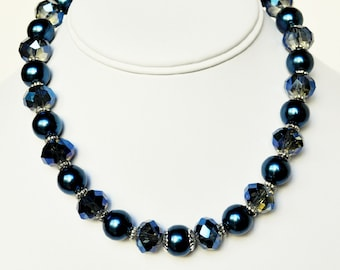 Blue Necklace Pearl Handmade Beaded Jewelry with Silver and Swarovski Pearls