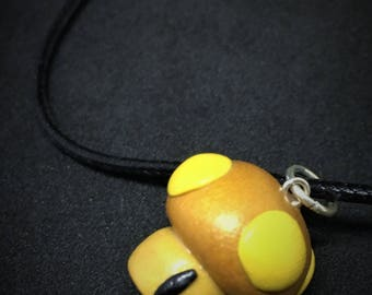 Golden Mario Mushroom, Polymer Clay Charm, Video Game Jewelry Necklace