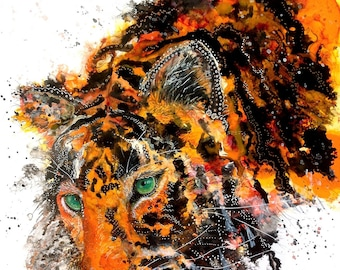 Tiger art print: nursery animal art tiger wall art big cat art tiger decor nursery decor tiger gift idea Ellen Brenneman