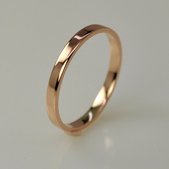 Rose Gold Wedding Band Simple Stacking Ring 14K 2mm Recycled Eco Friendly Sea Babe Jewelry