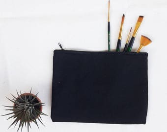 Black Cosmetic Bags, Make up Bags, canvas Pouch Bags.