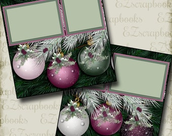 PURPLE CHRISTMAS - 2 Premade Scrapbook Pages - EZ Layout 2883