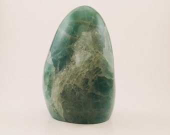 Beautiful deep green fluorite freeform