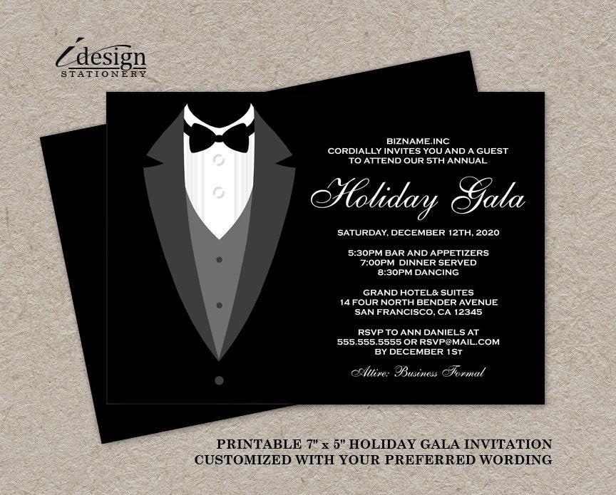 Diy Wedding Invitations Canada: Holiday Gala Invitation DIY Printable Tuxedo Invitations