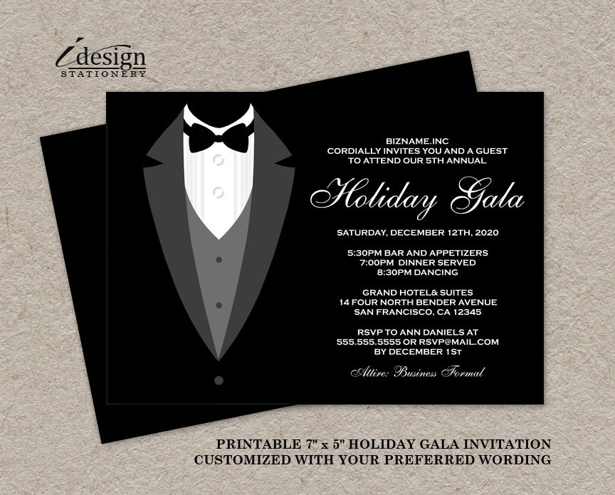 Holiday Gala Invitation DIY Printable Tuxedo Invitations