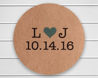 Save The Date Stickers, Save the Date or Wedding Envelope Seals, Wedding Stickers, Light Kraft (#104-KR)