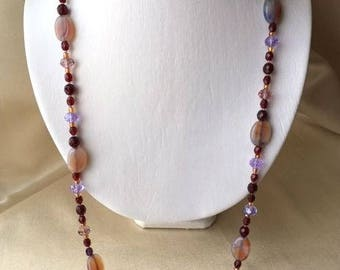 Crimson red and lavender necklace and earrings set - gold tone accents, natural stone, crystal