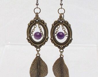 Amethyst Earrings, Bronze Victorian earring, Leaf, Brides Earring, Bridesmaid Gift, Victorian Wedding, Steampunk Wedding, Steampunk Earrings