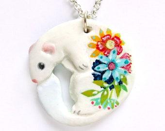 White Ferret Necklace - Summer