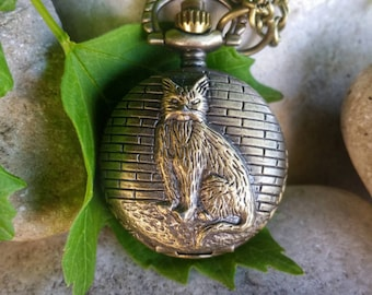 Necklace watch necklace antique bronze, zen and serenity of the cat, cat...
