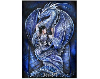 Dragon's Bride - Original painting, blue dragon fantasy illustration dark beauty woman signed art