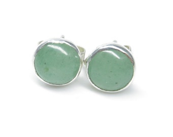 Aventurine Earrings, Sterling Silver Aventurine Stud Earrings, Green Gemstone Earrings, Aventurine Jewellery, Birthday Gift For Her