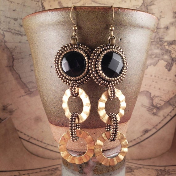 Long Beaded Black Onyx Gemstone Earrings with Fanned Edge Brass Rings