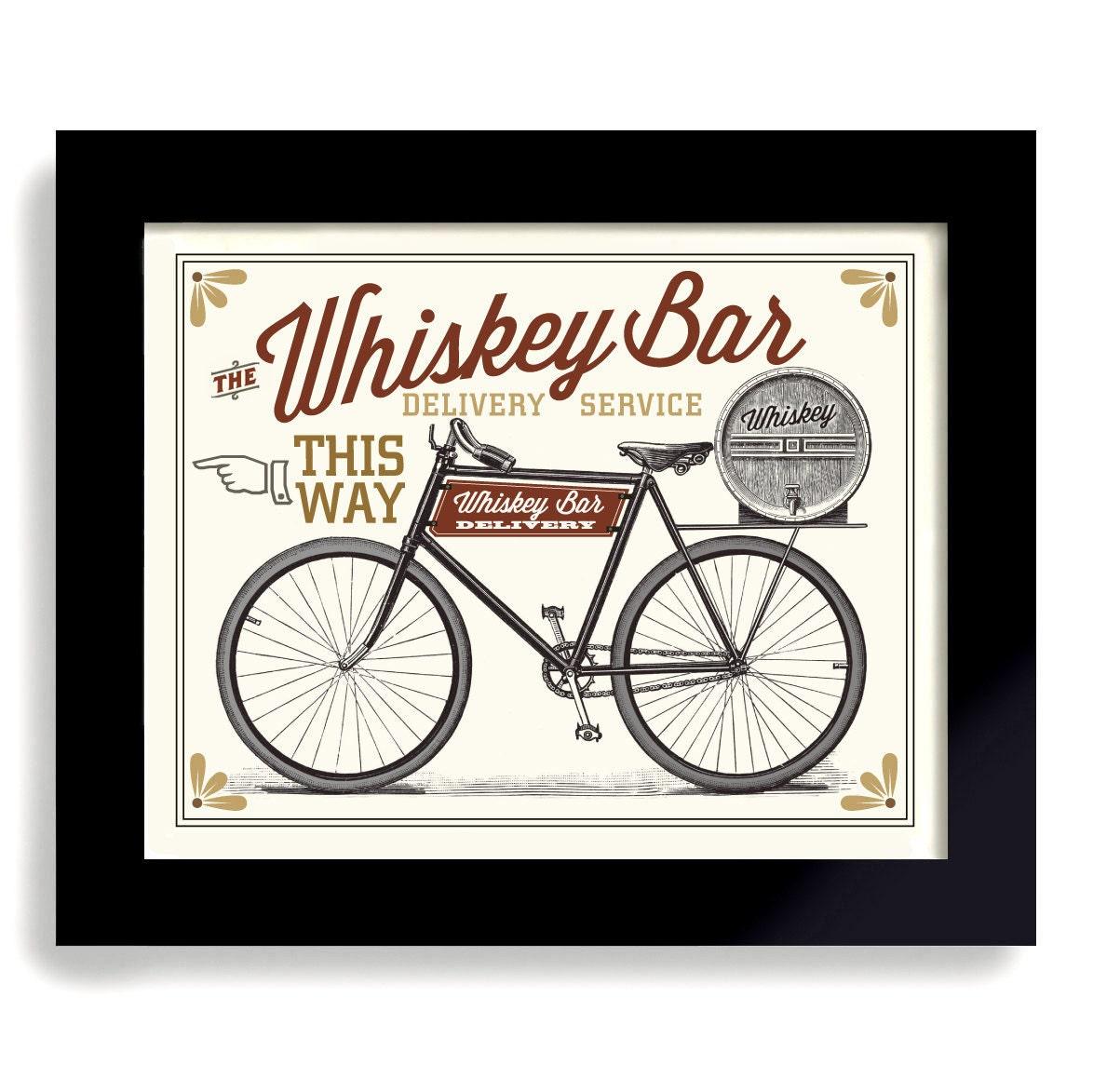Whisky-Kunstdruck Bar-Zeichen Antik Fahrrad Kunstdruck