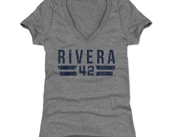 Mariano Rivera Women's V-neck T Shirt - New York Throwbacks Mariano Rivera Font B