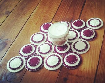 Burgundy and cream penny rug circles candle mat handsewn