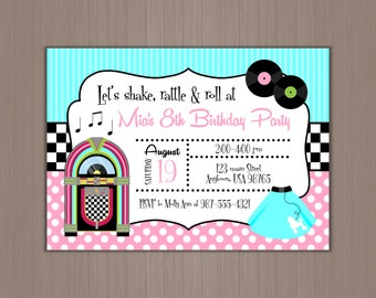 Sock hop invitation Etsy