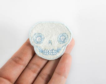 Hand Embroidered Icy Blues and White Skull Patch
