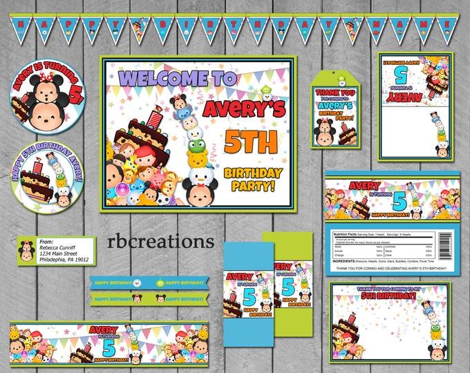 Tsum Tsum Party Package, Tsum Party, Tsum Tsum Birthday, Tsum Tsum Printables - Digital Printable