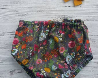 Baby girl bloomers,  fall floral bloomers,  diaper cover, with or without ruffles