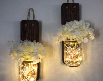 Rustic Mason Jar Wall Sconce Country Decor Set of Two, Complete with Hydrangeas and  LED Fairy Lights, Rustic Decor, Hanging Lighted Lantern