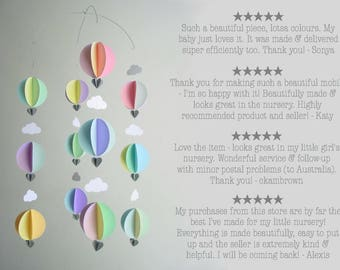 Hot Air Balloon Mobile - Baby shower decorations - Travel theme baby shower - hot air balloon decorations - baby mobile - nursery decor