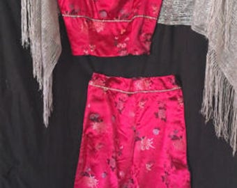 2pc Satin/Hot Pink Evening Set /One of a Kind /Size 4