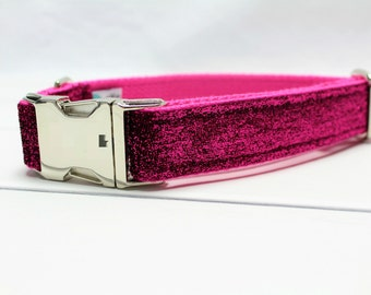 Bright Pink Glitter Dog Collar - Glitter Dog Collar - Pink Dog Collar - Girl Dog Collar - Female Dog Collar