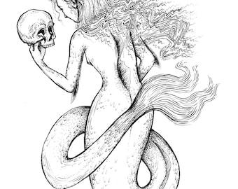 Mermaid with Skull Print
