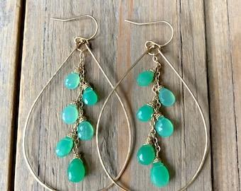 Apple Green Chrysoprase and Gold Teardrop Hoop Earrings