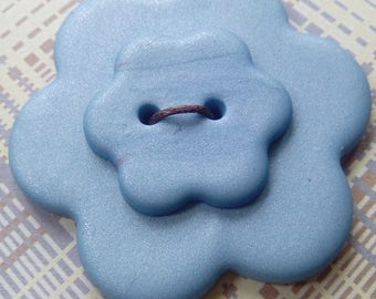 Large blue flower button, polymer clay button, unique button, handmade button, focal button, crafts, scrapbooking, sewing, knitting
